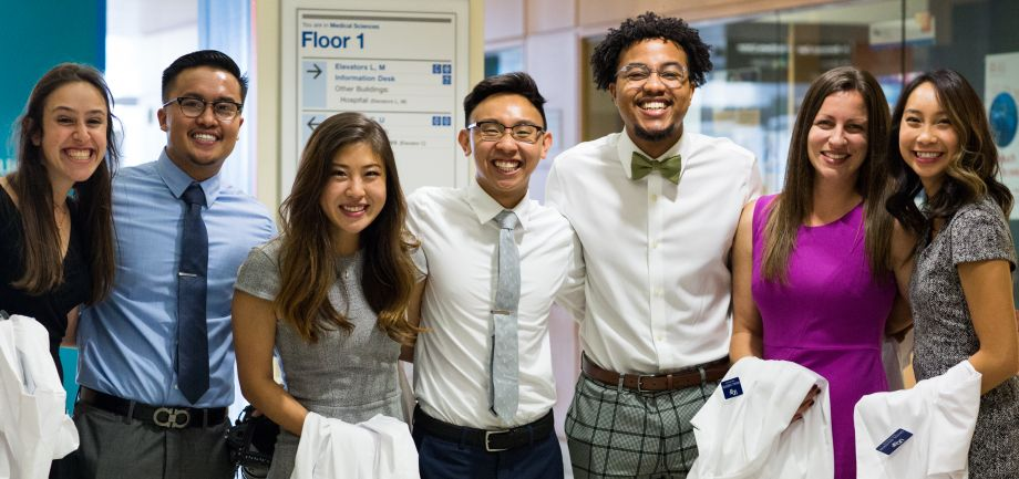 group of smiling students facing the camera