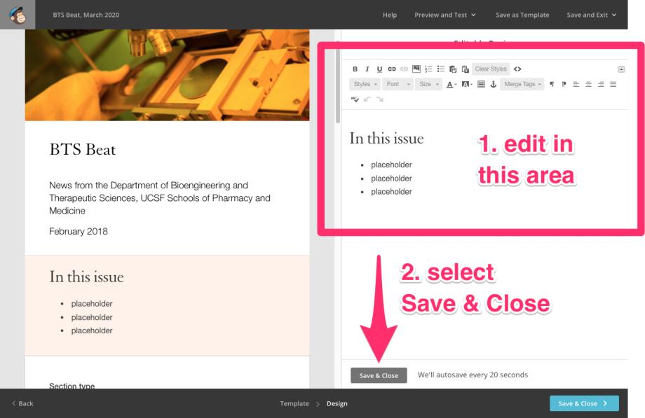 screenshot, editing a section