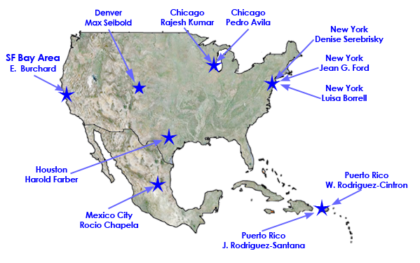 United States map showing study sites