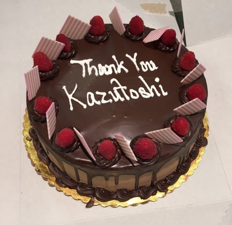 cake with writing: Thank You Kazutoshi
