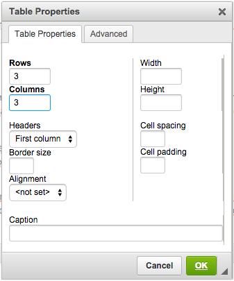 Table Properties