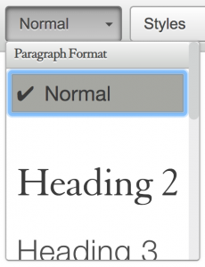paragraph format menu showing normal selected