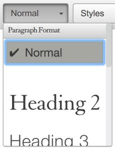 paragraph format menu showing normal selected.