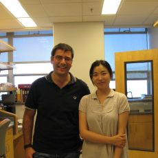 Antonio with a lab member
