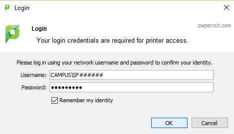 PaperCut MyAccess login