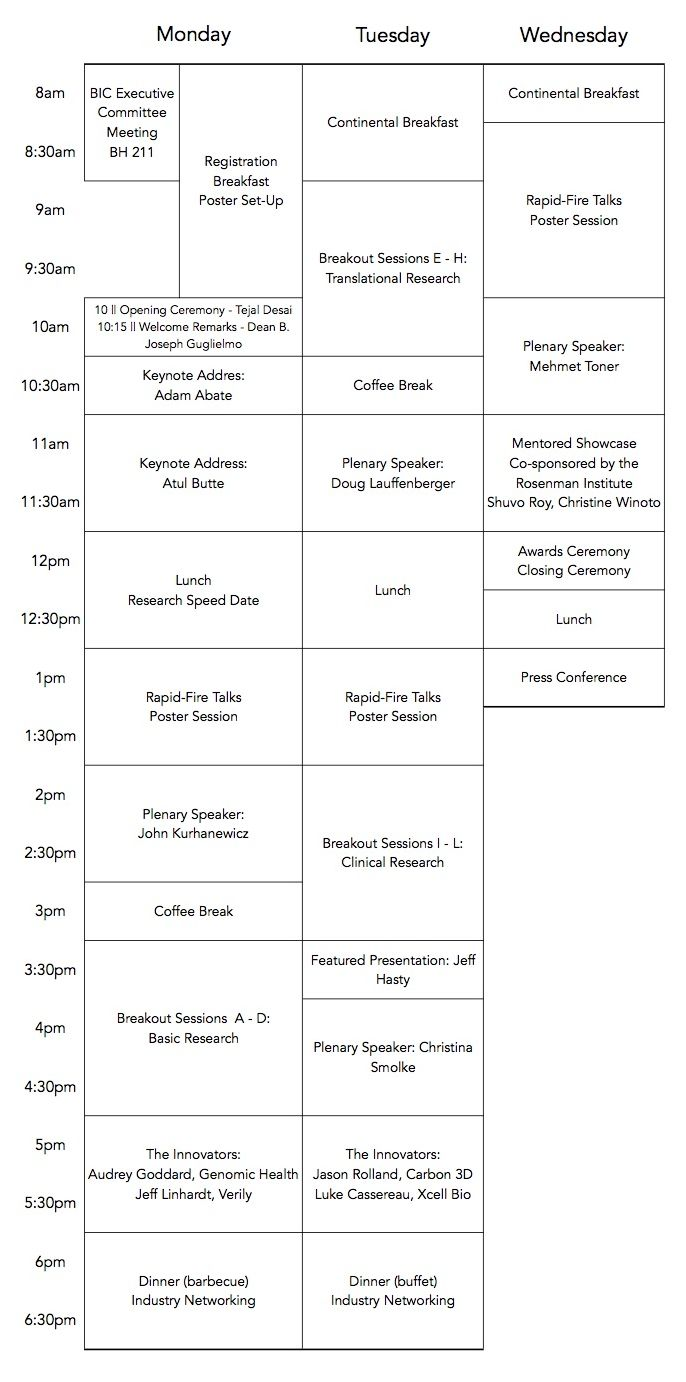 2016 UC/BIC Bioengineering Symposium Schedule