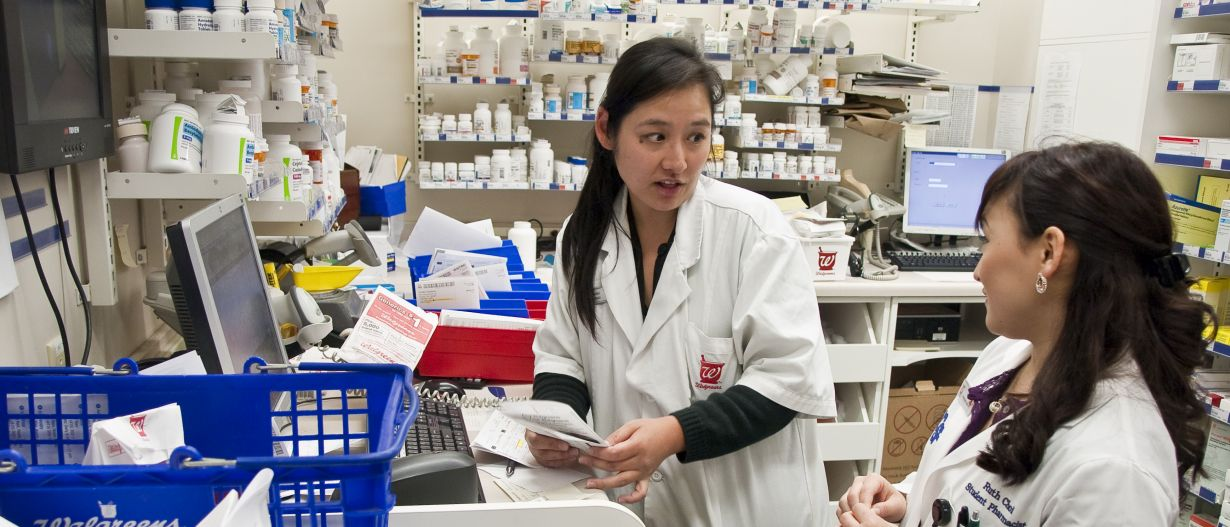 student pharmacists working in a pharmacy